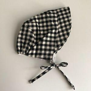 Brand New Check Linen Brimmed Bonnet 6-12 Months